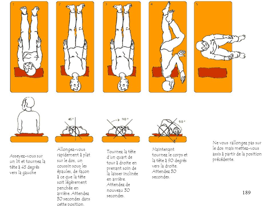 189 Asseyez-vous sur un lit et tournez la tête à 45 degrés vers la gauche Allongez-vous rapidement à plat sur le dos, un coussin sous les épaules, de