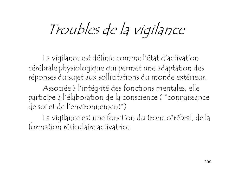 200 Troubles de la vigilance La vigilance est définie comme létat dactivation cérébrale physiologique qui permet une adaptation des réponses du sujet