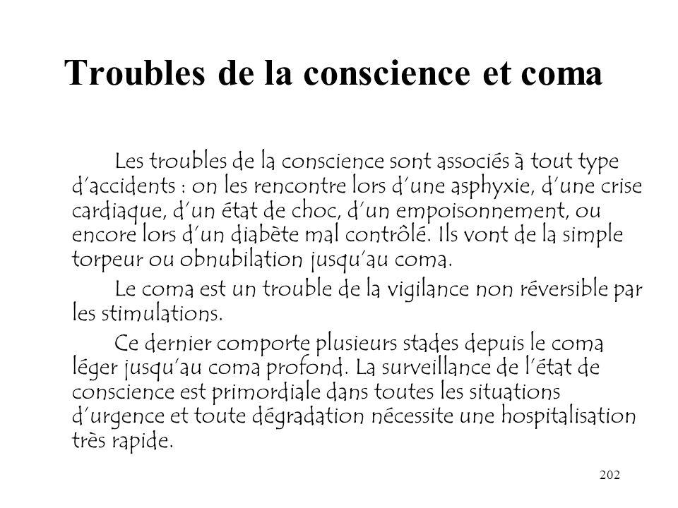 202 Troubles de la conscience et coma Les troubles de la conscience sont associés à tout type daccidents : on les rencontre lors dune asphyxie, dune c