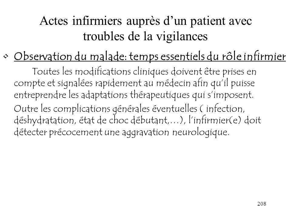208 Actes infirmiers auprès dun patient avec troubles de la vigilances Observation du malade: temps essentiels du rôle infirmier Toutes les modificati