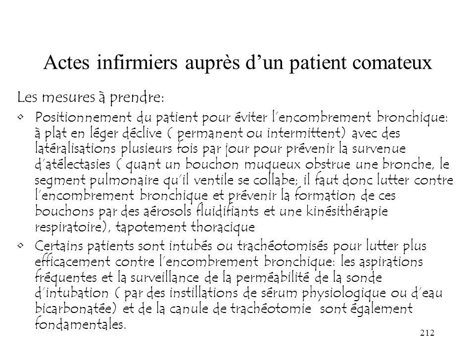 212 Actes infirmiers auprès dun patient comateux Les mesures à prendre: Positionnement du patient pour éviter lencombrement bronchique: à plat en lége