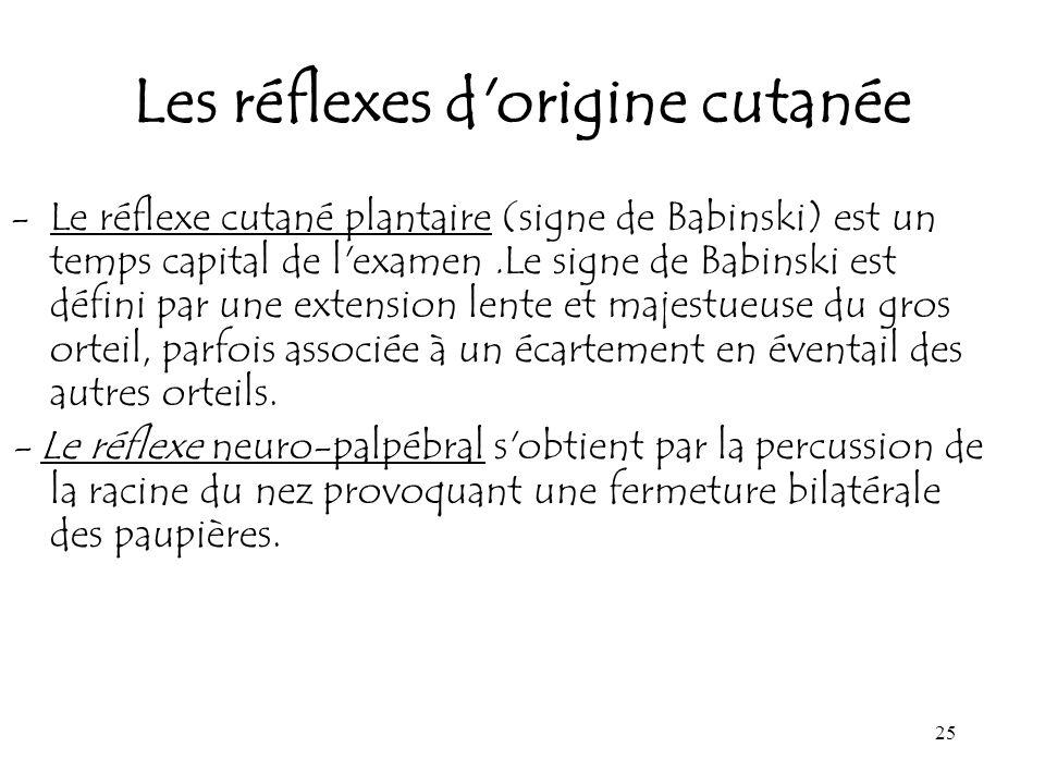 25 Les réflexes d'origine cutanée -Le réflexe cutané plantaire (signe de Babinski) est un temps capital de l'examen.Le signe de Babinski est défini pa
