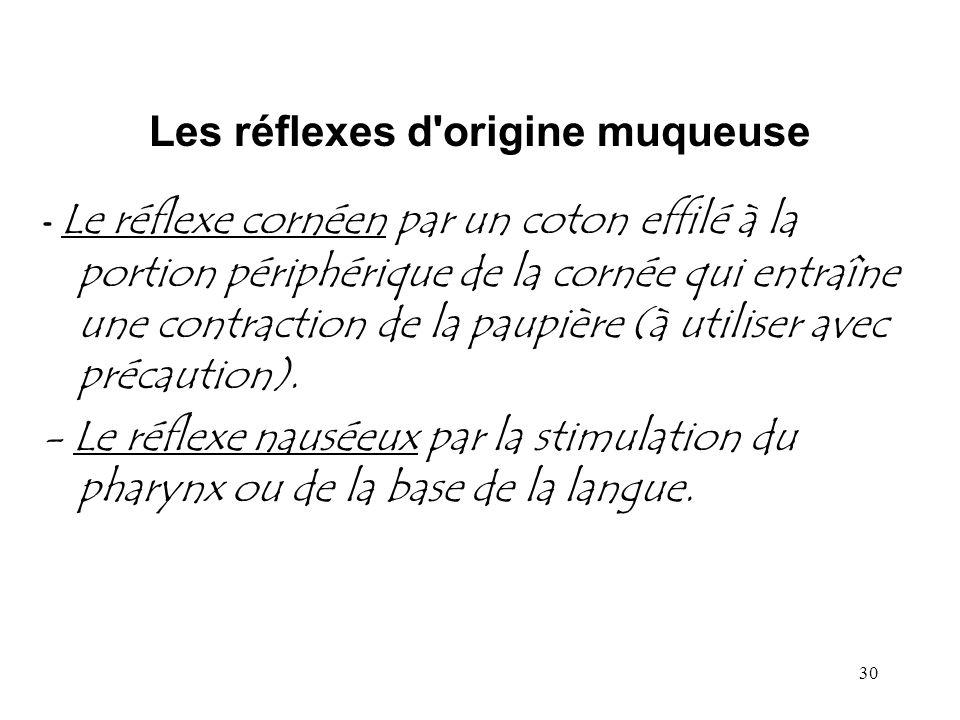 30 Les réflexes d'origine muqueuse - Le réflexe cornéen par un coton effilé à la portion périphérique de la cornée qui entraîne une contraction de la