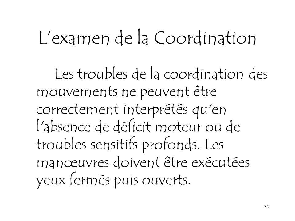 37 Lexamen de la Coordination Les troubles de la coordination des mouvements ne peuvent être correctement interprétés qu'en l'absence de déficit moteu