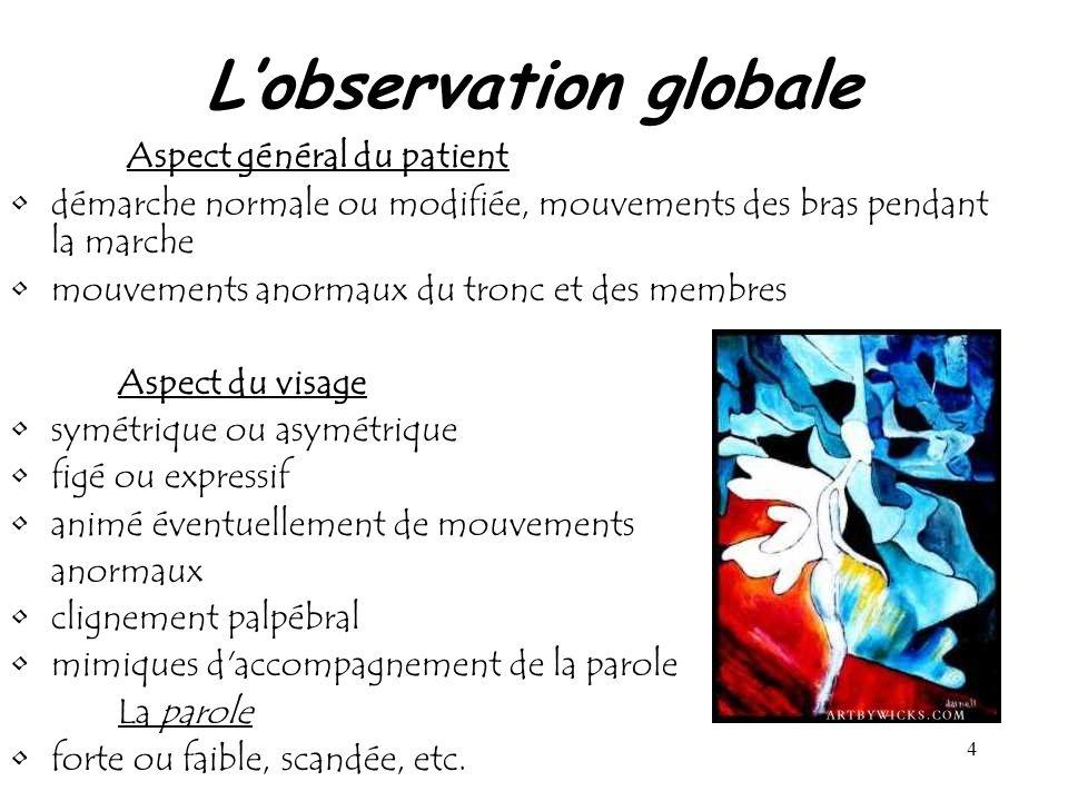 4 Lobservation globale Aspect général du patient démarche normale ou modifiée, mouvements des bras pendant la marche mouvements anormaux du tronc et d