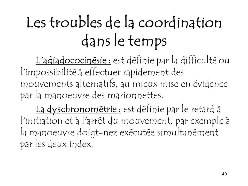 40 Les troubles de la coordination dans le temps L'adiadococinésie : est définie par la difficulté ou l'impossibilité à effectuer rapidement des mouve