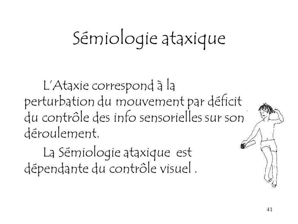41 Sémiologie ataxique LAtaxie correspond à la perturbation du mouvement par déficit du contrôle des info sensorielles sur son déroulement. La Sémiolo