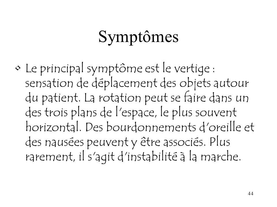 44 Symptômes Le principal symptôme est le vertige : sensation de déplacement des objets autour du patient. La rotation peut se faire dans un des trois