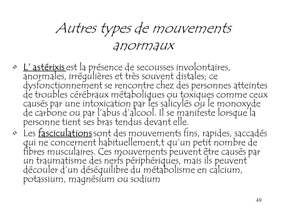 49 Autres types de mouvements anormaux L astérixis est la présence de secousses involontaires, anormales, irrégulières et très souvent distales; ce dy