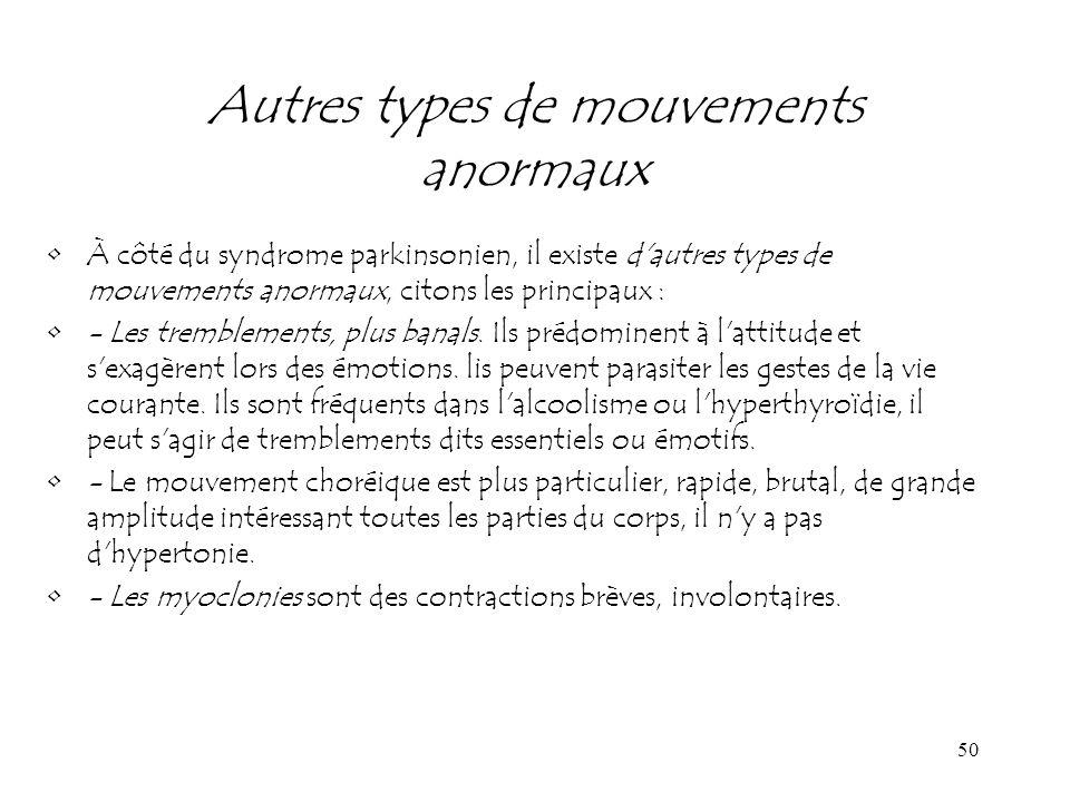 50 Autres types de mouvements anormaux À côté du syndrome parkinsonien, il existe d'autres types de mouvements anormaux, citons les principaux : - Les
