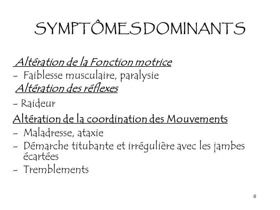 6 SYMPTÔMES DOMINANTS Altération de la Fonction motrice -Faiblesse musculaire, paralysie Altération des réflexes - Raideur Altération de la coordinati