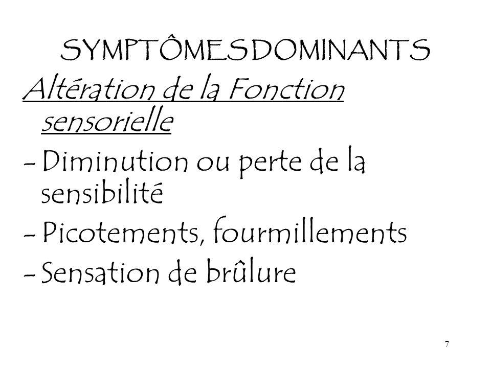 8 SYMPTÔMES DOMINANTS Fonction des nerfs crâniens -Modification de la vision, -Relâchement des muscles du visage -Perturbation de l élocution -Perte auditive, acouphènes, problèmes d équilibre -Altération de l odorat et du goût