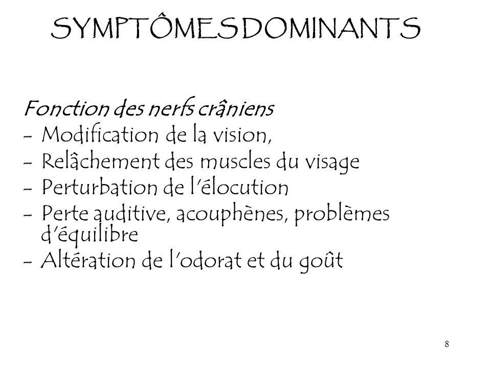 8 SYMPTÔMES DOMINANTS Fonction des nerfs crâniens -Modification de la vision, -Relâchement des muscles du visage -Perturbation de l'élocution -Perte a