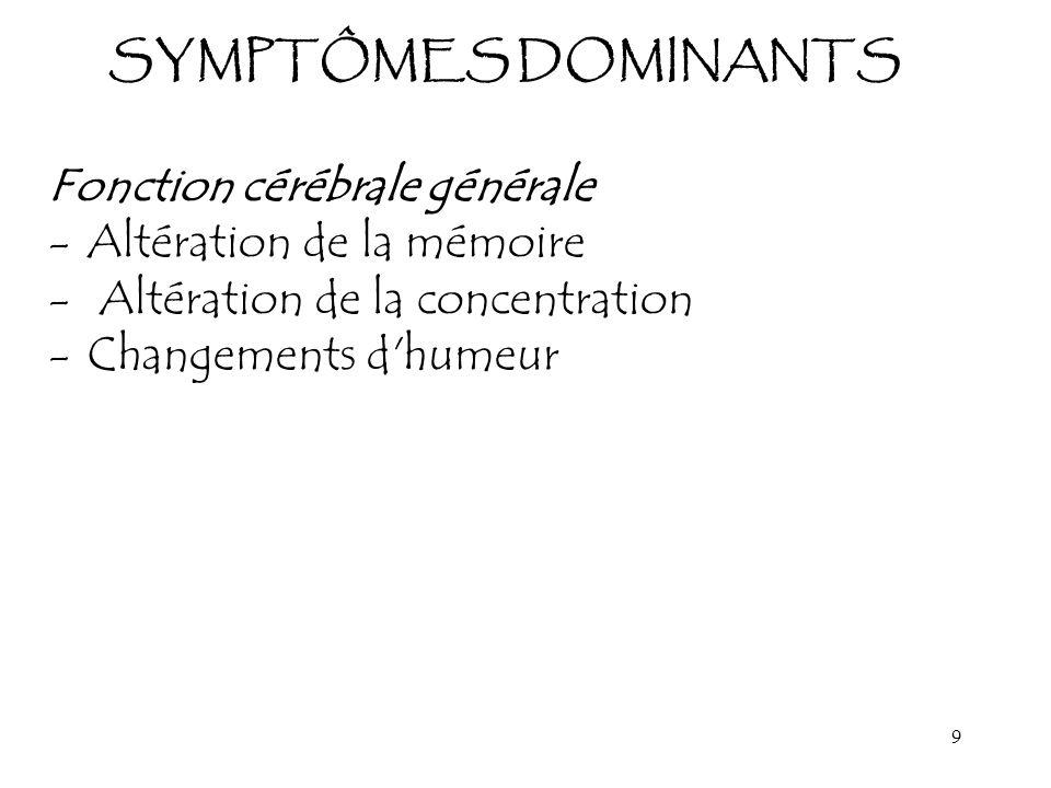 9 SYMPTÔMES DOMINANTS Fonction cérébrale générale -Altération de la mémoire - Altération de la concentration -Changements d'humeur
