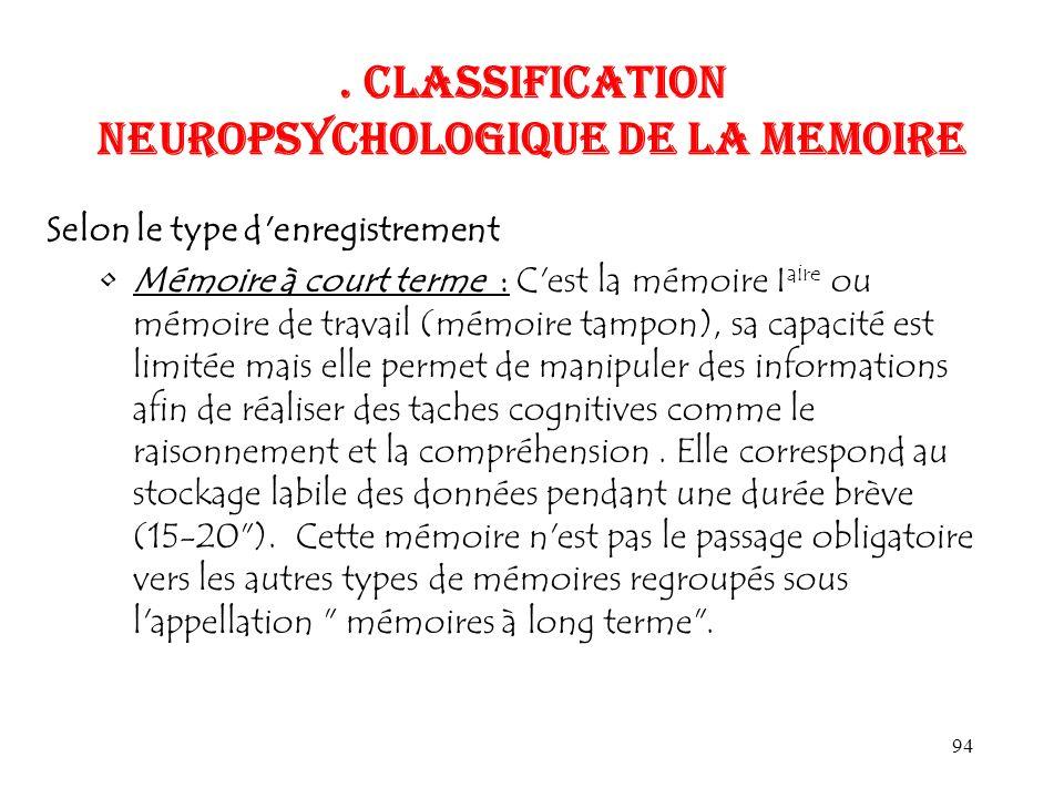 94. CLASSIFICATION NEUROPSYCHOLOGIQUE DE LA MEMOIRE Selon le type d'enregistrement Mémoire à court terme : C'est la mémoire I aire ou mémoire de trava