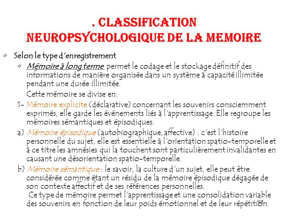 95. CLASSIFICATION NEUROPSYCHOLOGIQUE DE LA MEMOIRE Selon le type d'enregistrement Mémoire à long terme permet le codage et le stockage définitif des