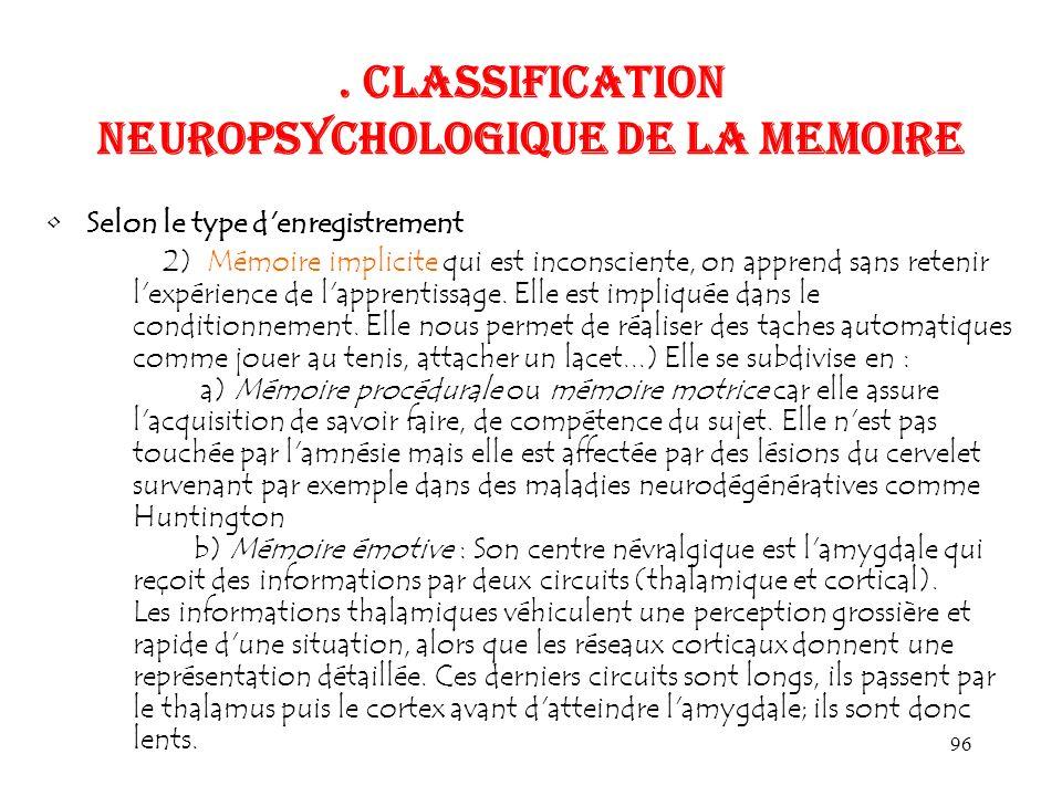 96. CLASSIFICATION NEUROPSYCHOLOGIQUE DE LA MEMOIRE Selon le type d'enregistrement 2) Mémoire implicite qui est inconsciente, on apprend sans retenir