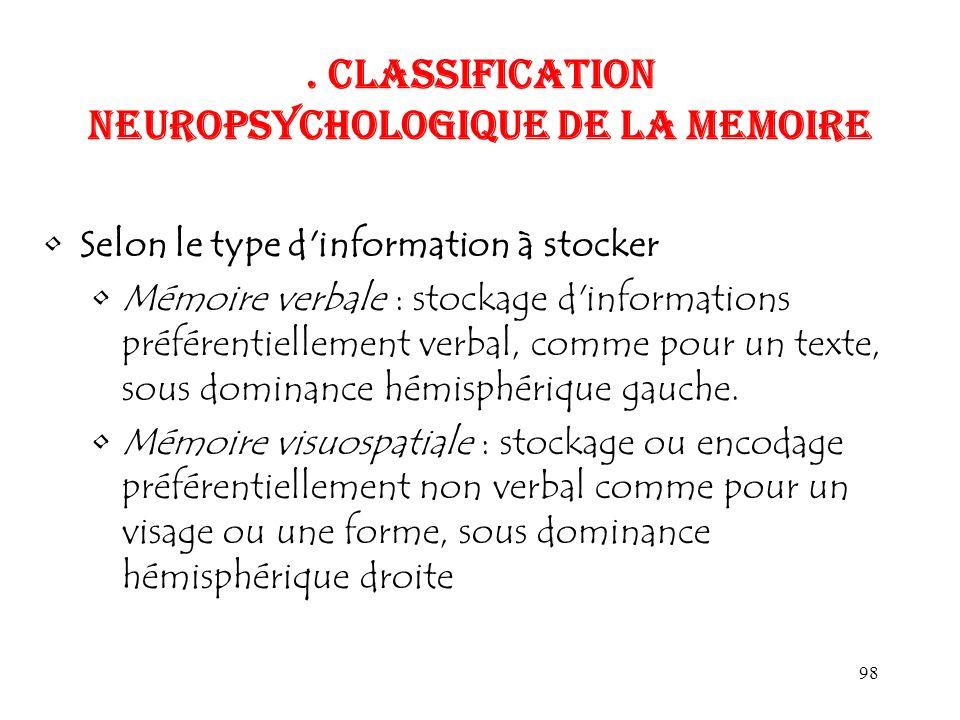 98. CLASSIFICATION NEUROPSYCHOLOGIQUE DE LA MEMOIRE Selon le type d'information à stocker Mémoire verbale : stockage d'informations préférentiellement