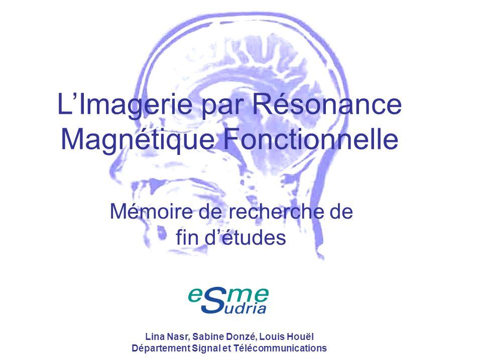 /4012 Sang oxygéné et sang non oxygéné : pas les mêmes propriétés magnétiques Hémoglobine contient 4 hèmes E dHb HbO 2 (Absence doxygène) (Présence doxygène) 4 électrons célibataires Désoxyhémoglobine paramagnétique Propriétés magnétiques du sang (3/4) De lIRM à lIRMf Applications Lina Nasr, Sabine Donzé, Louis Houël Département Signal et Télécommunications