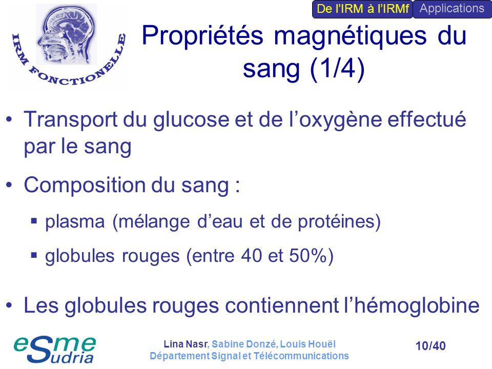 /4010 Propriétés magnétiques du sang (1/4) Transport du glucose et de loxygène effectué par le sang Composition du sang : plasma (mélange deau et de p