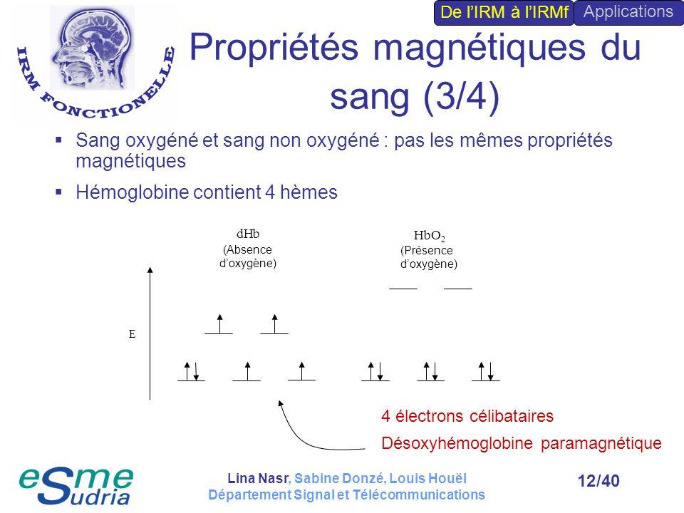 /4012 Sang oxygéné et sang non oxygéné : pas les mêmes propriétés magnétiques Hémoglobine contient 4 hèmes E dHb HbO 2 (Absence doxygène) (Présence do