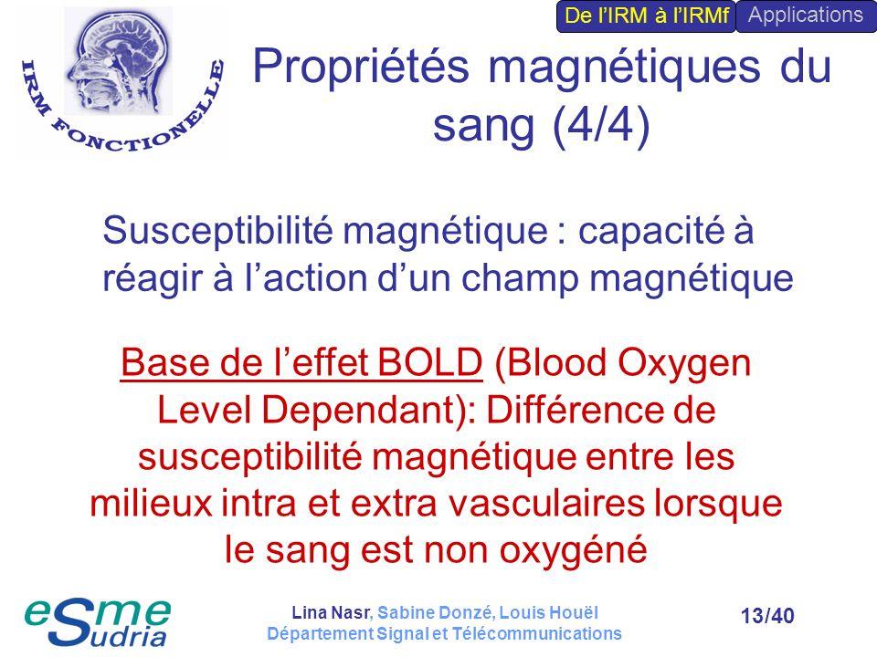 /4013 Base de leffet BOLD (Blood Oxygen Level Dependant): Différence de susceptibilité magnétique entre les milieux intra et extra vasculaires lorsque