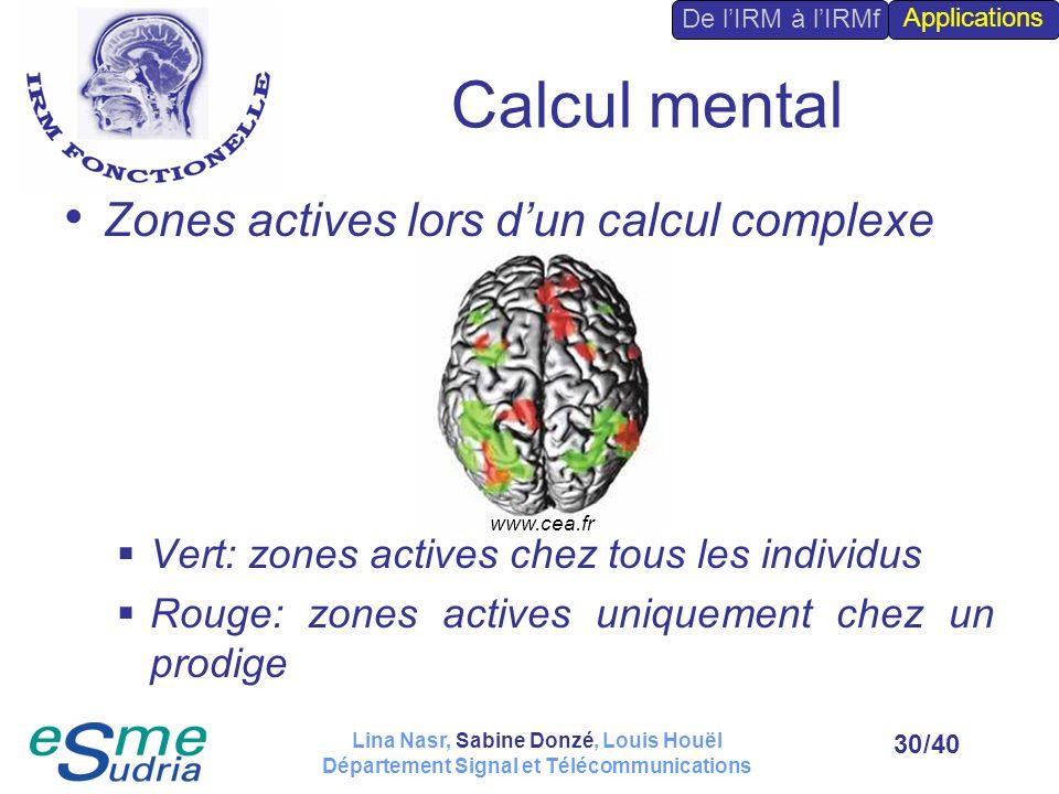 /4030 Calcul mental Zones actives lors dun calcul complexe Vert: zones actives chez tous les individus Rouge: zones actives uniquement chez un prodige