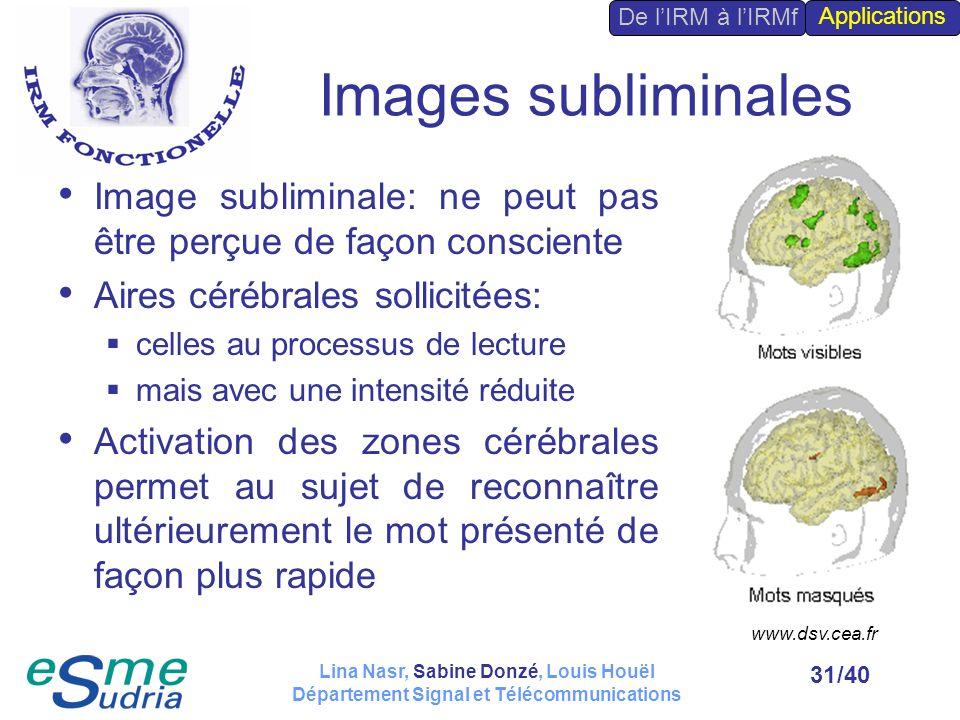 /4031 Images subliminales Image subliminale: ne peut pas être perçue de façon consciente Aires cérébrales sollicitées: celles au processus de lecture