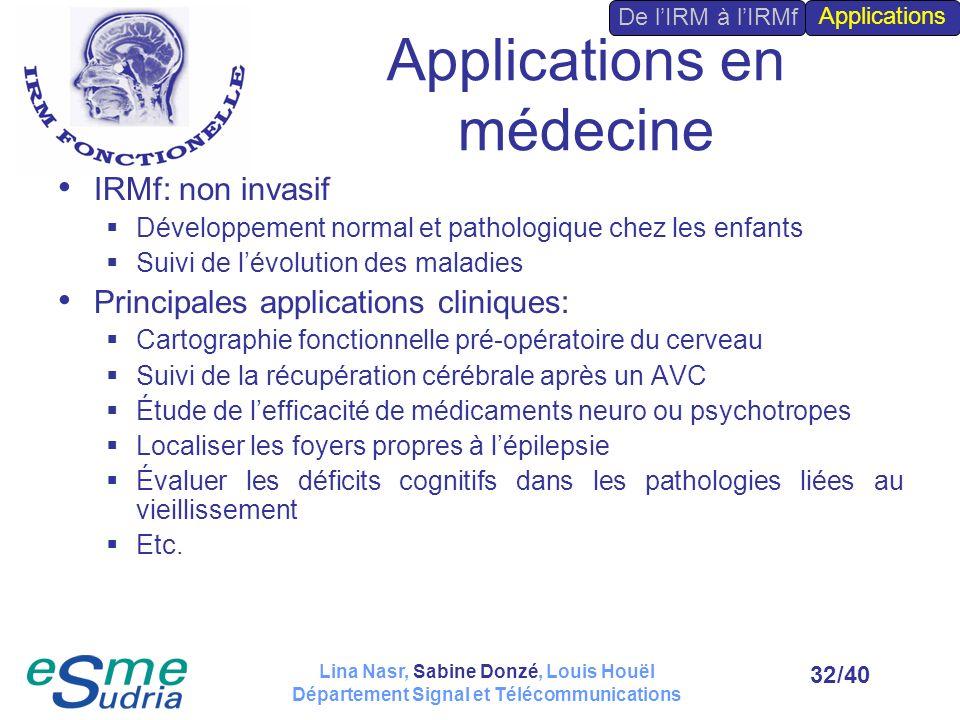 /4032 Applications en médecine IRMf: non invasif Développement normal et pathologique chez les enfants Suivi de lévolution des maladies Principales ap