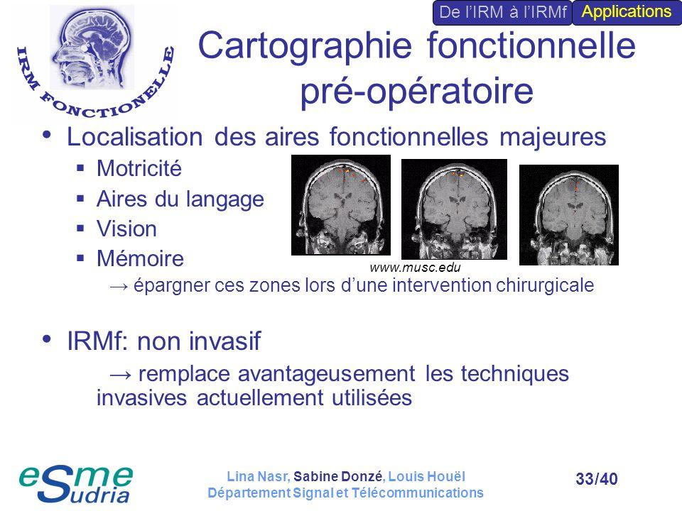/4033 Cartographie fonctionnelle pré-opératoire Localisation des aires fonctionnelles majeures Motricité Aires du langage Vision Mémoire épargner ces