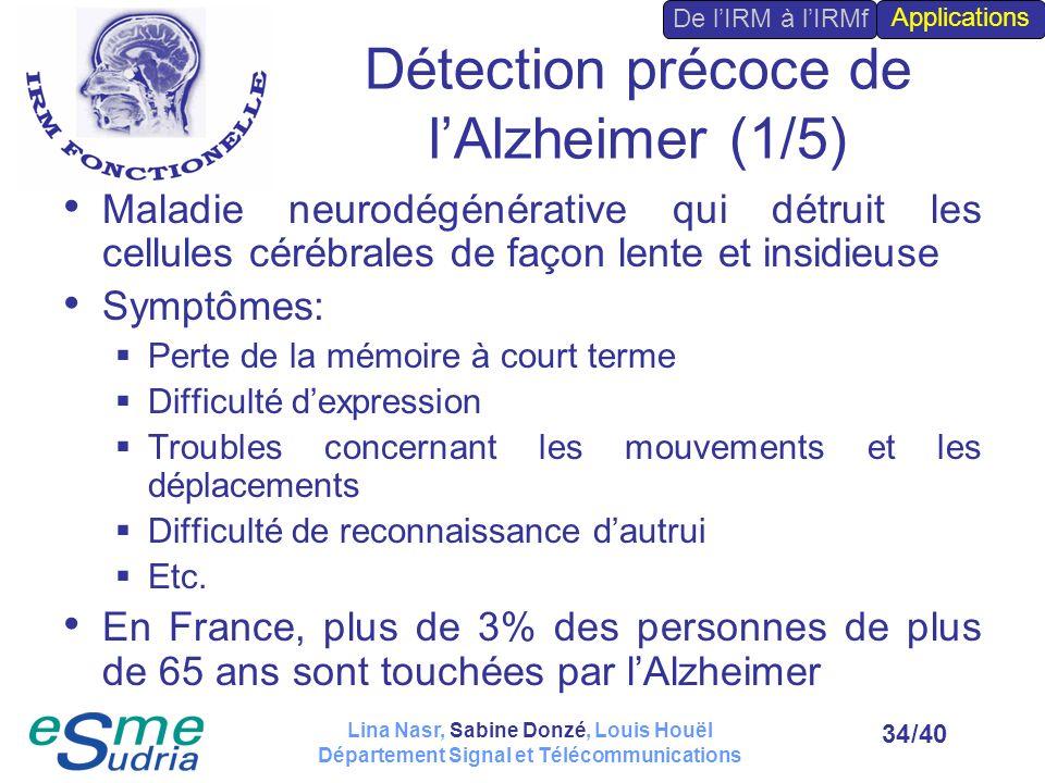 /4034 Détection précoce de lAlzheimer (1/5) Maladie neurodégénérative qui détruit les cellules cérébrales de façon lente et insidieuse Symptômes: Pert