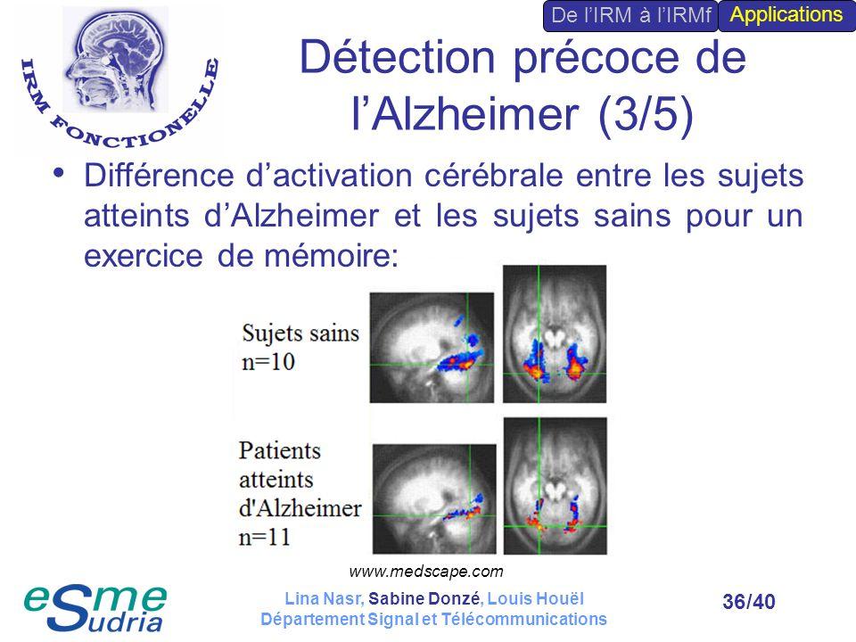 /4036 Détection précoce de lAlzheimer (3/5) Différence dactivation cérébrale entre les sujets atteints dAlzheimer et les sujets sains pour un exercice