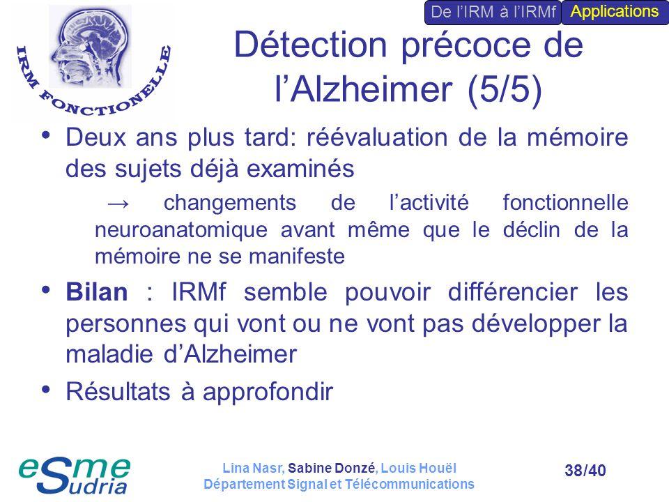 /4038 Détection précoce de lAlzheimer (5/5) Deux ans plus tard: réévaluation de la mémoire des sujets déjà examinés changements de lactivité fonctionn