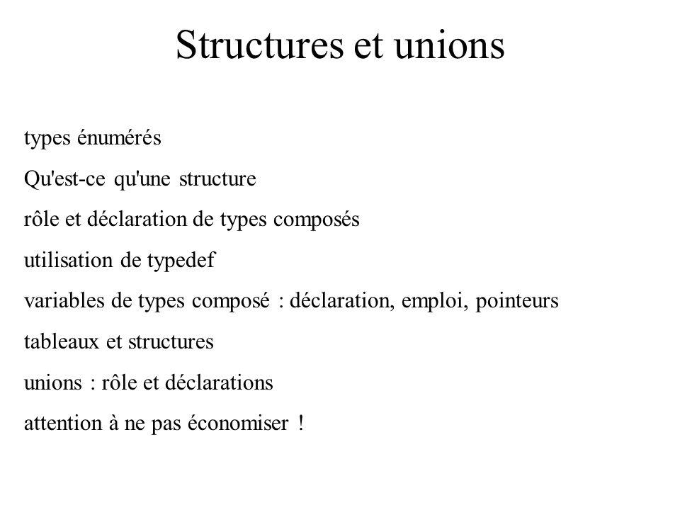 Structures et unions types énumérés Qu'est-ce qu'une structure rôle et déclaration de types composés utilisation de typedef variables de types composé