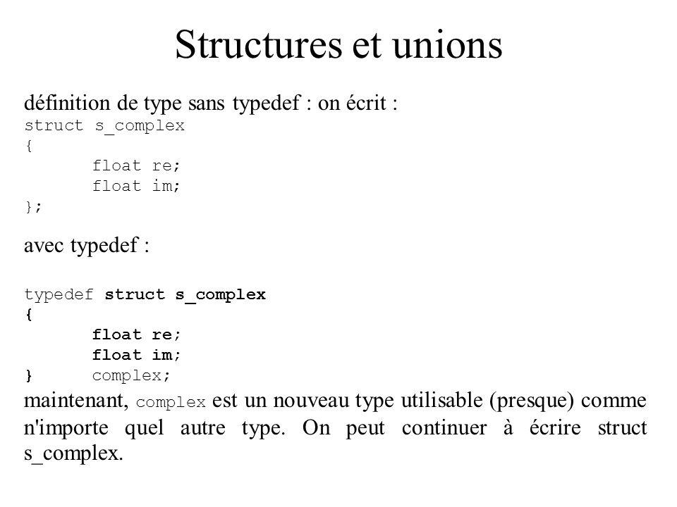 Structures et unions définition de type sans typedef : on écrit : struct s_complex { float re; float im; }; avec typedef : typedef struct s_complex {