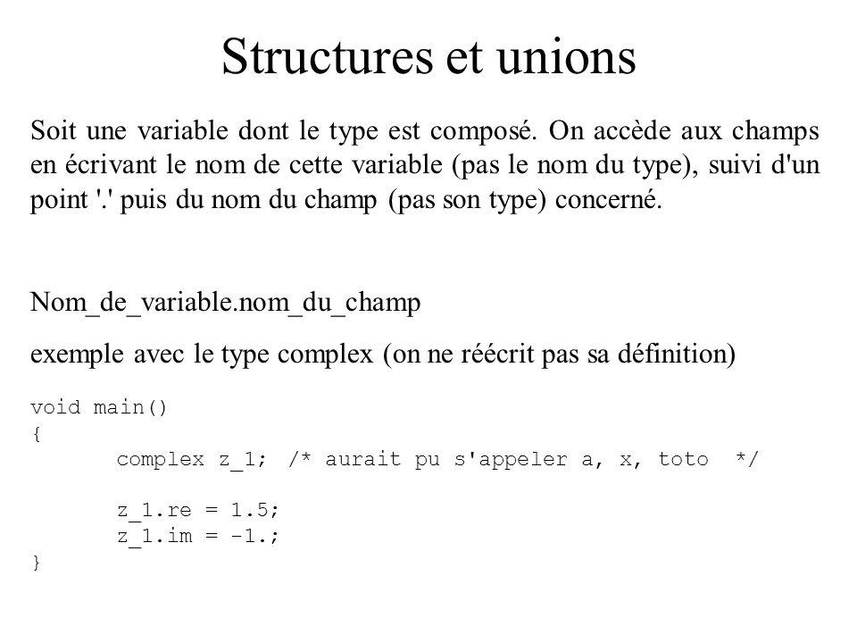 Structures et unions Soit une variable dont le type est composé. On accède aux champs en écrivant le nom de cette variable (pas le nom du type), suivi