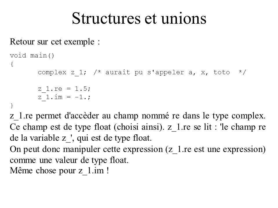 Structures et unions Retour sur cet exemple : void main() { complex z_1;/* aurait pu s'appeler a, x, toto */ z_1.re = 1.5; z_1.im = -1.; } z_1.re perm