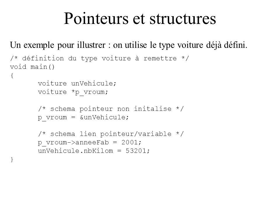 Pointeurs et structures Un exemple pour illustrer : on utilise le type voiture déjà défini. /* définition du type voiture à remettre */ void main() {