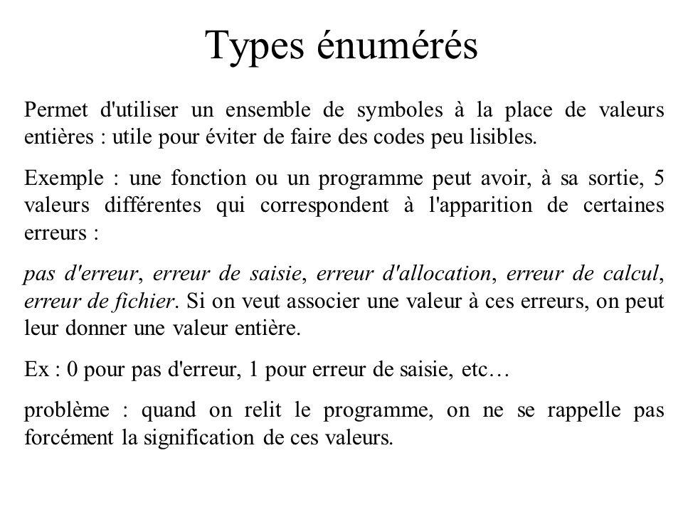 Types énumérés Permet d'utiliser un ensemble de symboles à la place de valeurs entières : utile pour éviter de faire des codes peu lisibles. Exemple :