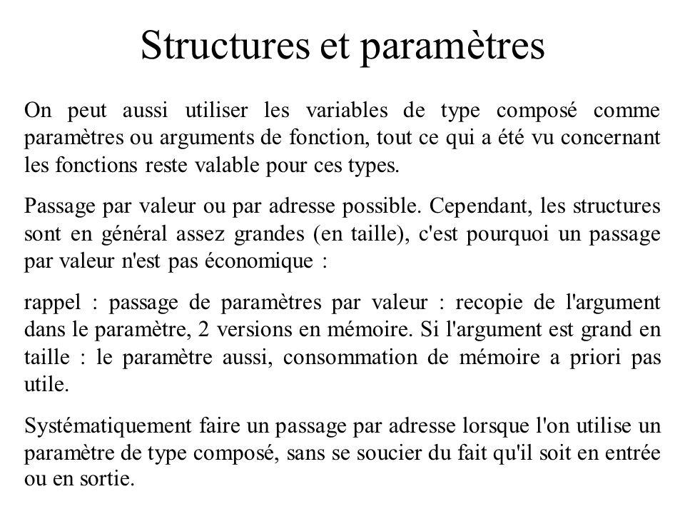 Structures et paramètres On peut aussi utiliser les variables de type composé comme paramètres ou arguments de fonction, tout ce qui a été vu concerna