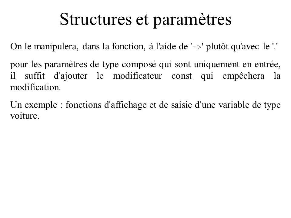 Structures et paramètres On le manipulera, dans la fonction, à l'aide de ' -> ' plutôt qu'avec le '.' pour les paramètres de type composé qui sont uni