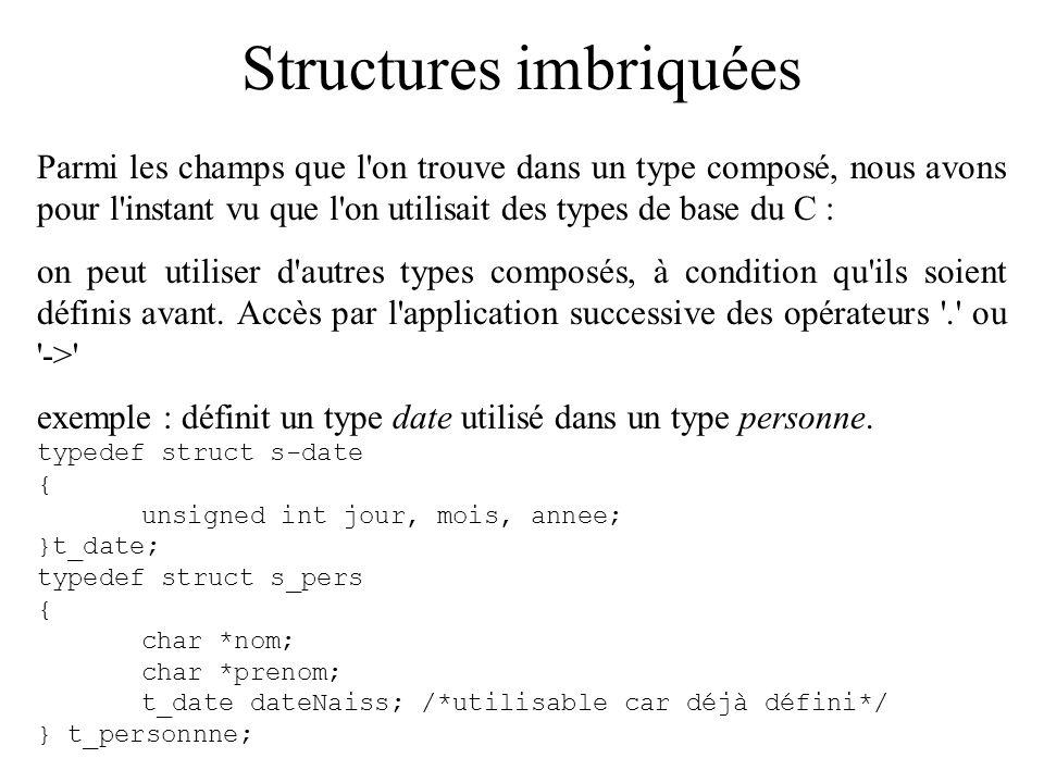 Structures imbriquées Parmi les champs que l'on trouve dans un type composé, nous avons pour l'instant vu que l'on utilisait des types de base du C :