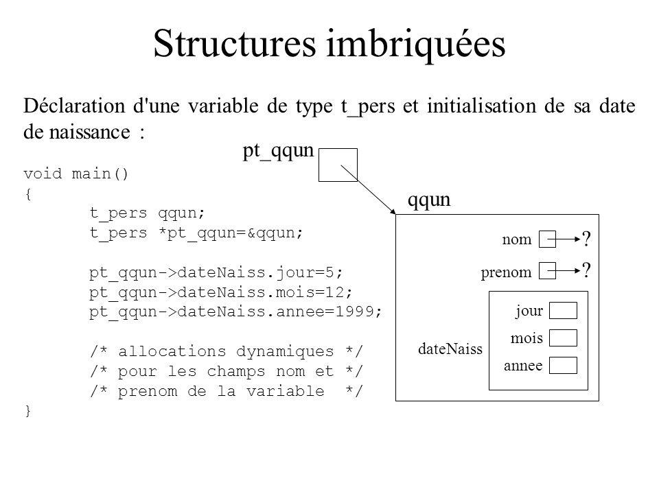 Structures imbriquées Déclaration d'une variable de type t_pers et initialisation de sa date de naissance : void main() { t_pers qqun; t_pers *pt_qqun