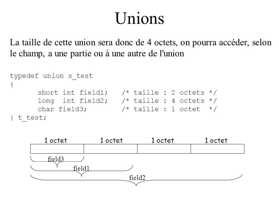 Unions La taille de cette union sera donc de 4 octets, on pourra accéder, selon le champ, a une partie ou à une autre de l'union typedef union s_test