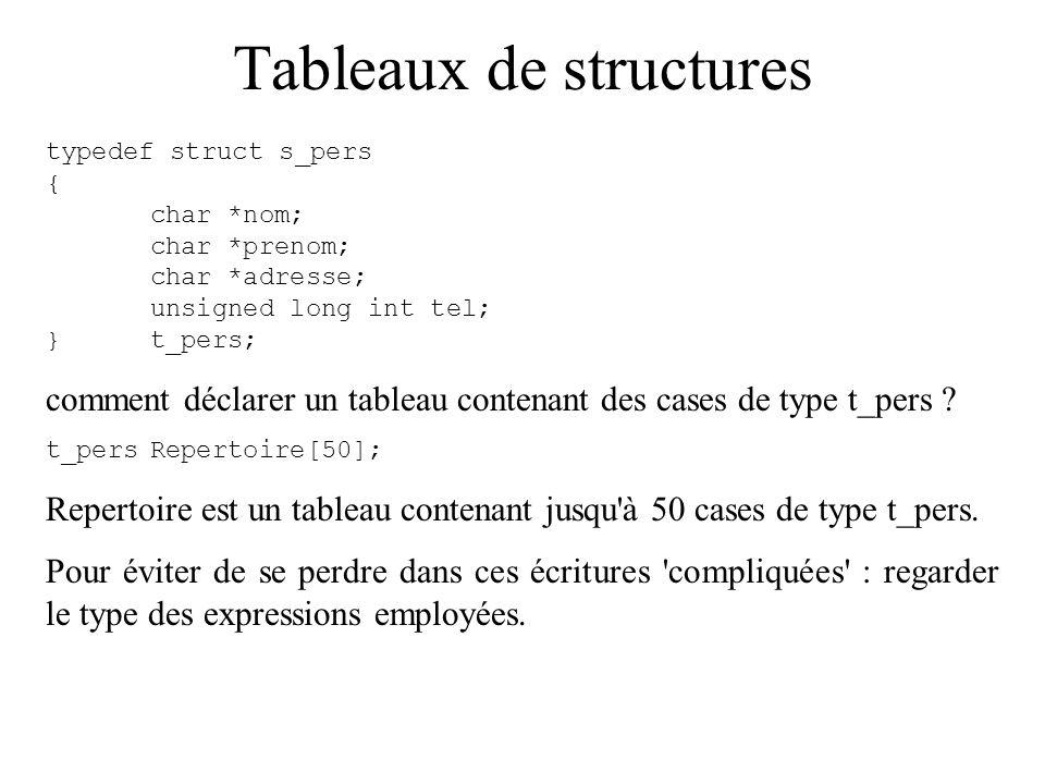Tableaux de structures typedef struct s_pers { char *nom; char *prenom; char *adresse; unsigned long int tel; }t_pers; comment déclarer un tableau con