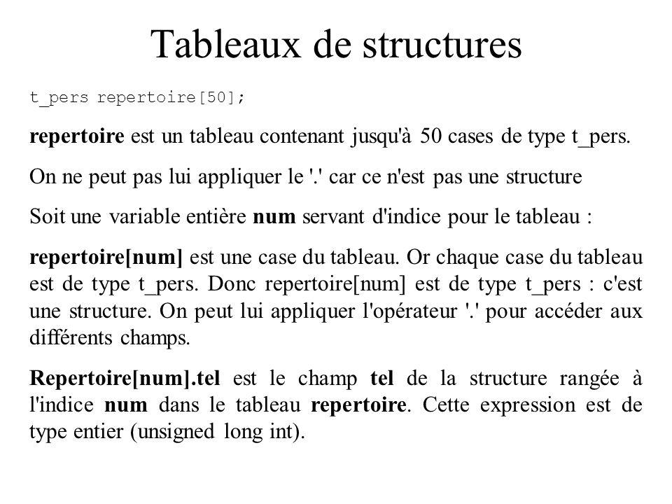 Tableaux de structures t_persrepertoire[50]; repertoire est un tableau contenant jusqu'à 50 cases de type t_pers. On ne peut pas lui appliquer le '.'