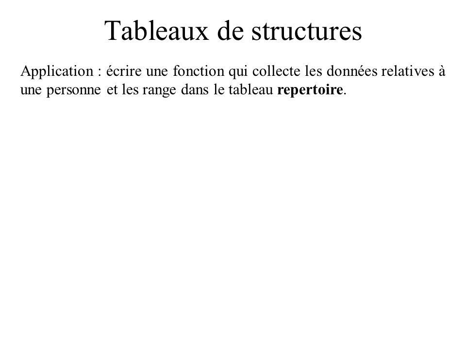 Tableaux de structures Application : écrire une fonction qui collecte les données relatives à une personne et les range dans le tableau repertoire.