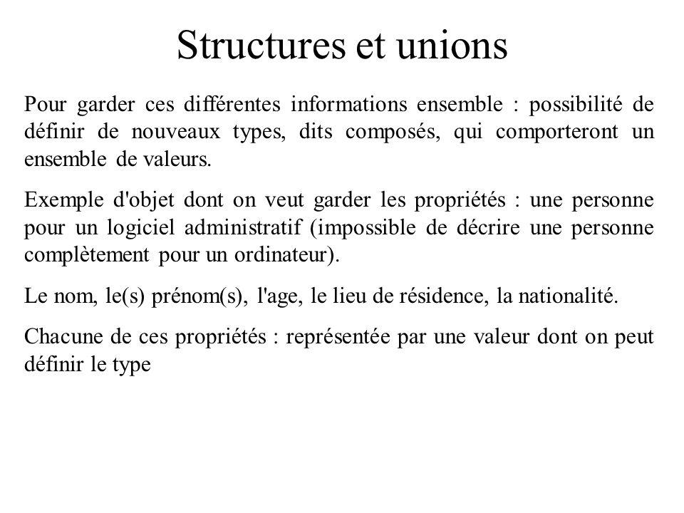 Structures et unions Pour garder ces différentes informations ensemble : possibilité de définir de nouveaux types, dits composés, qui comporteront un