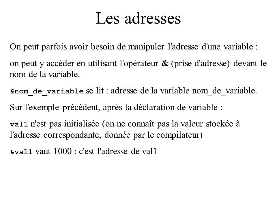 Les adresses On peut parfois avoir besoin de manipuler l'adresse d'une variable : on peut y accéder en utilisant l'opérateur & (prise d'adresse) devan