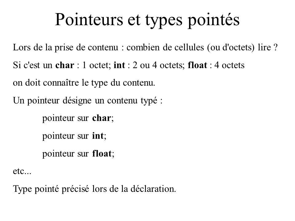 Pointeurs et types pointés Lors de la prise de contenu : combien de cellules (ou d'octets) lire ? Si c'est un char : 1 octet; int : 2 ou 4 octets; flo